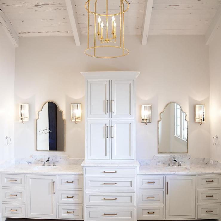 White Master Bath With Whitewashed Plank Ceiling And Gold Lantern