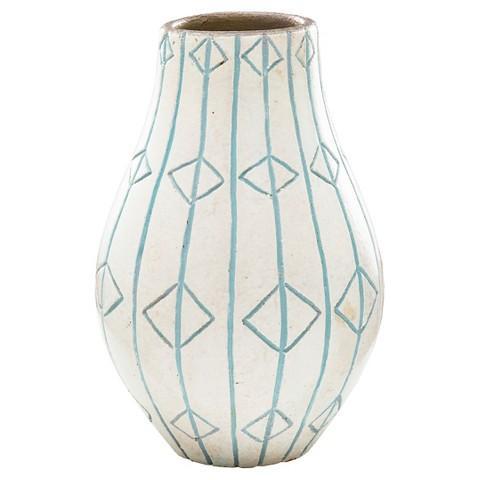 Teal And White Diamond Pattern Ceramic Vase