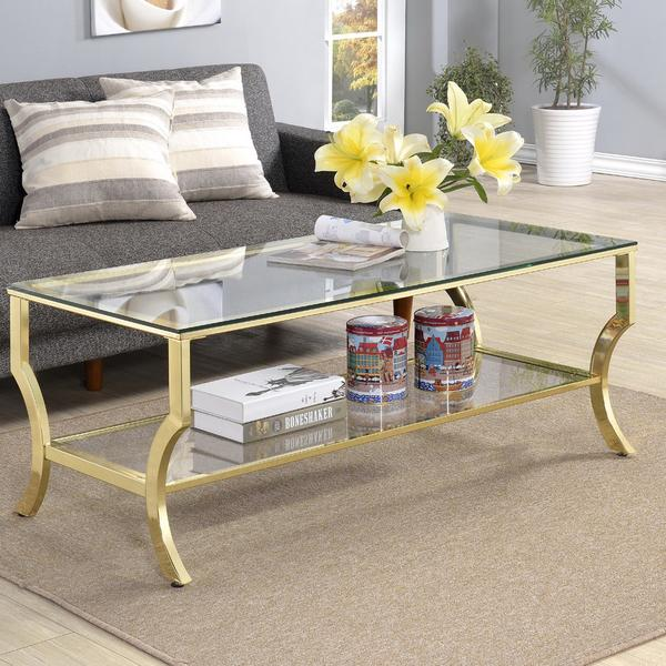 Antique Gold Tempered Glass Coffee Table