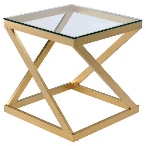 Tyra Gold Mirror Top End Table