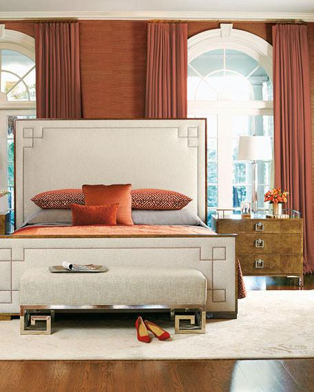 Gray Velvet Upholstered King Bed