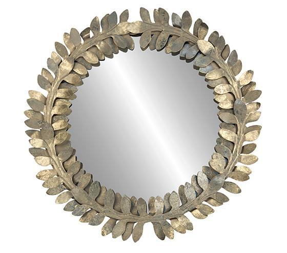 Best Golden Leaf Wreath Frame Wall Mirror PW61