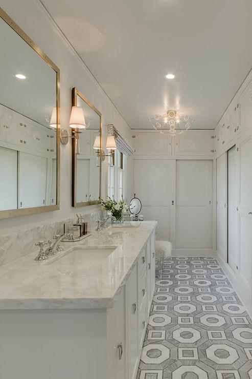 Long Master Bathroom With White And Gray Carrera Hexagon