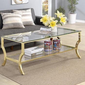 e1a01e1b288f56 Contemporary Glass Gold Frame Coffee Table