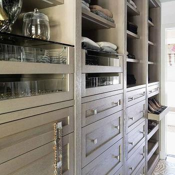 Gray Wash Closet Cabinets With Pull Out Shoe Shelves