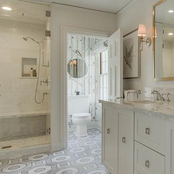 Water Closet With Gray Painted Ceiling And Gold Bamboo