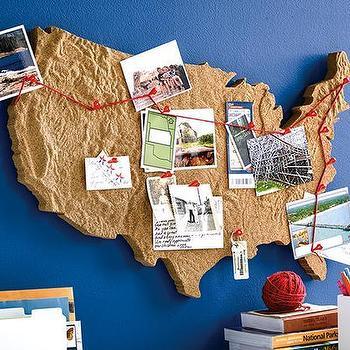 tan usa map cork board