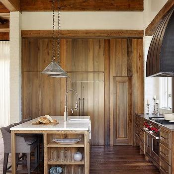 Rustic Kitchen With Stained Oak Center Island Cottage