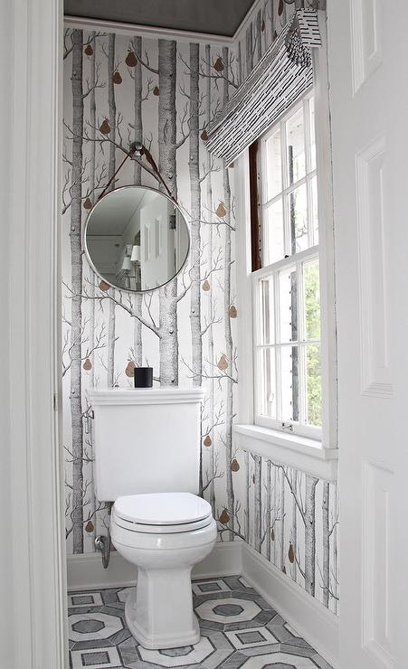 Gray water closet with gray ceiling transitional for Gray bathroom wallpaper