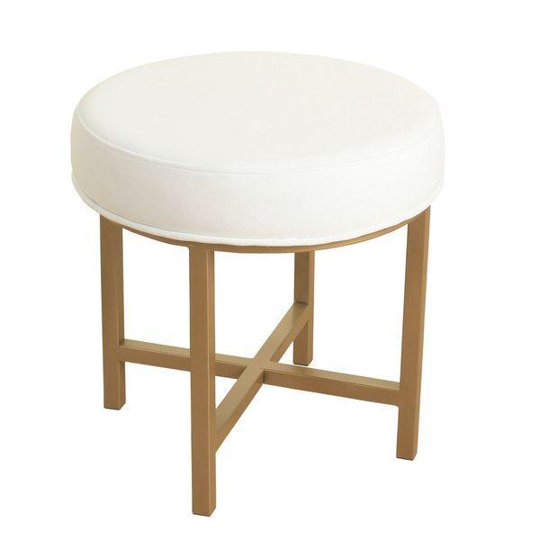 Brilliant Circle Ottoman With Gold Metal X Base Lamtechconsult Wood Chair Design Ideas Lamtechconsultcom