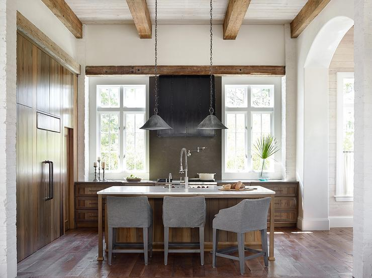 rustic kitchen with stained oak center island