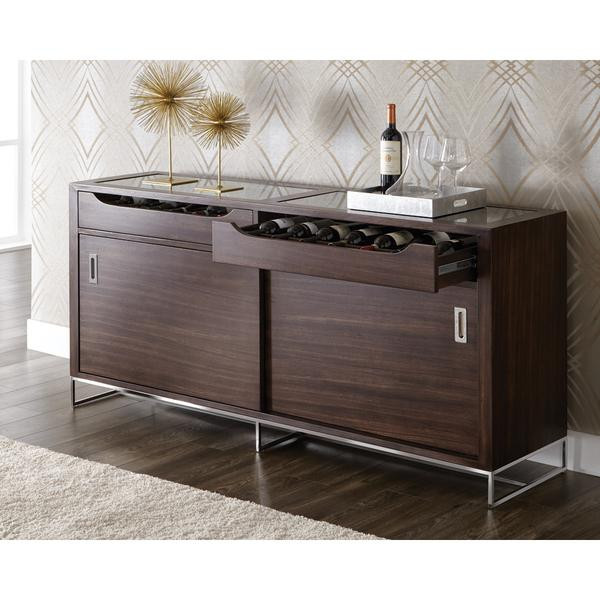 Gray Steel Top Brown Wood Base Storage Sideboard