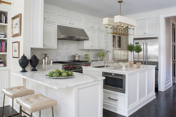 Kitchen Peninsula With Statuary Marble Countertop And