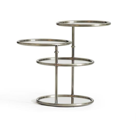 Swivel Silver Round Accent Table