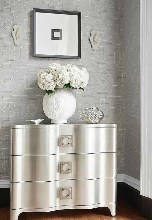 Silver And Gray Foyer With Gray Trellis Wallpaper