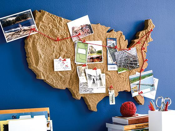 Tan USA Map Cork Board