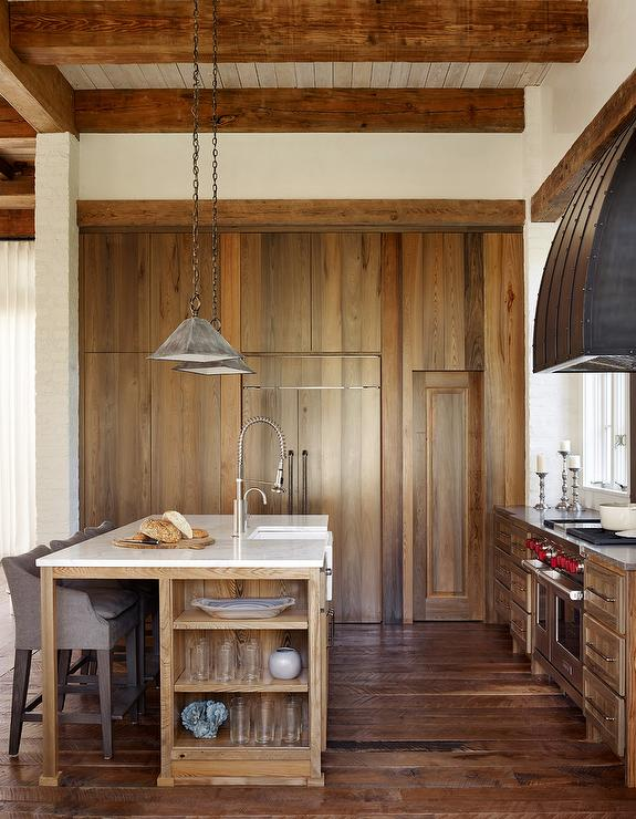 Rustic Kitchen With Wall Of Stained Oak Pantry Cabinets
