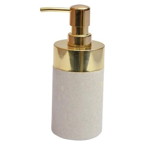 Gold And White Stone Soap Dispenser