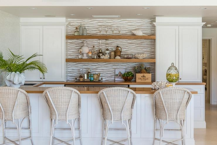 Built In Bar with Light Wicker Barstools - Transitional - Kitchen