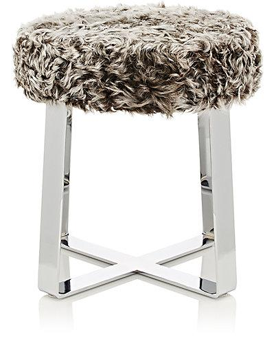 Black and white shaggy fur bar stool - Black and white vanity stool ...
