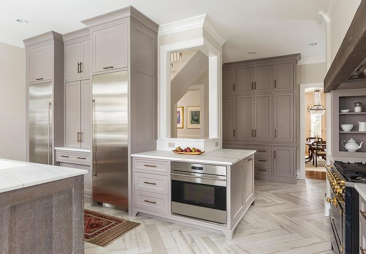 Gray Shaker Cabinets With Two Enclosed Refrigerators