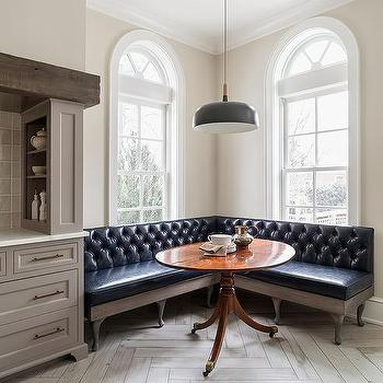 Awesome Black Vinyl Tufted Dining Banquette Under Palladian Windows