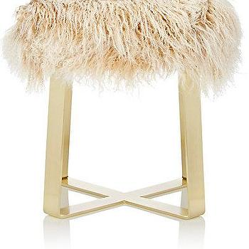 Black And White Shaggy Fur Bar Stool