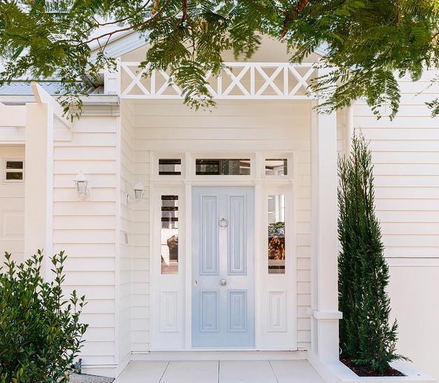 Powder Blue Front Door with Portico & Powder Blue Front Door with Portico - Cottage - Home Exterior