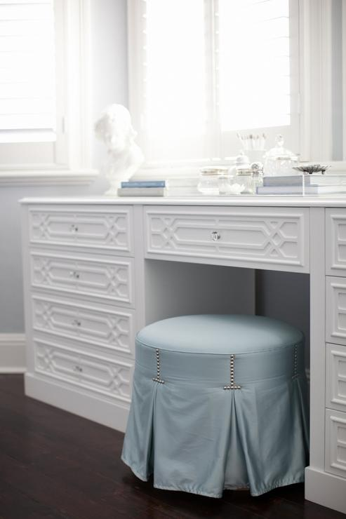 Round Blue Skirted Vanity Stool With Makeup Table Below
