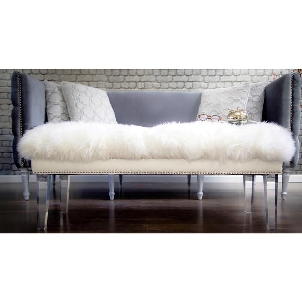 White Sheepskin Lucite Legs Bench