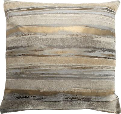 Metallic Gold And Grey Sovereign Stripe Pillow Cover