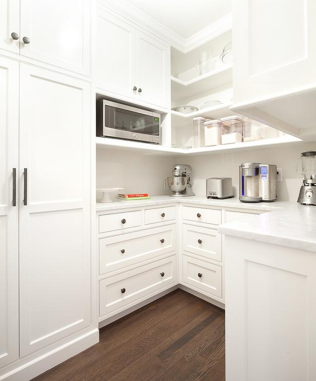 U Shaped KItchen Pantry With Microwave Nook