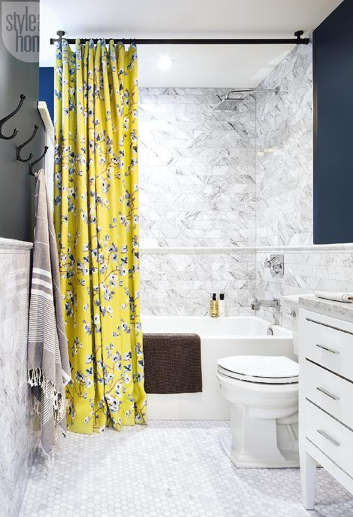 White and Blue Bathroom with Yellow Shower Curtain Contemporary