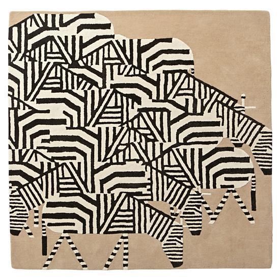 Zebra Patterned Black And White Rug