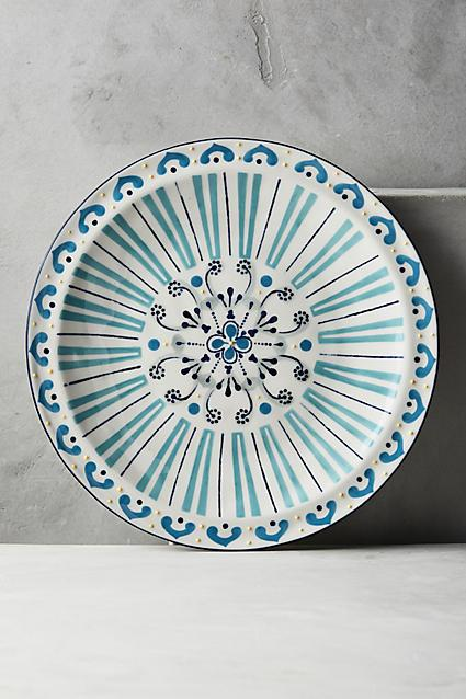 Turquoise Line Pattern Dinner Plate view full size & Portia Blue Floral Motif Dinner Plate
