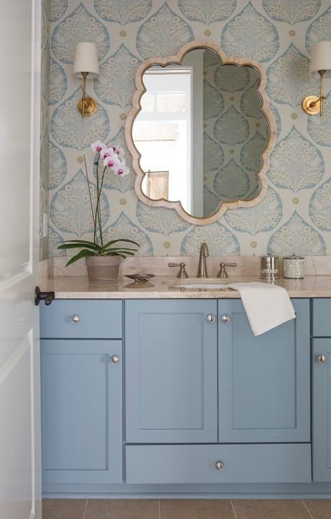 Blue Powder Room With Cream Bone Inlay Mirror