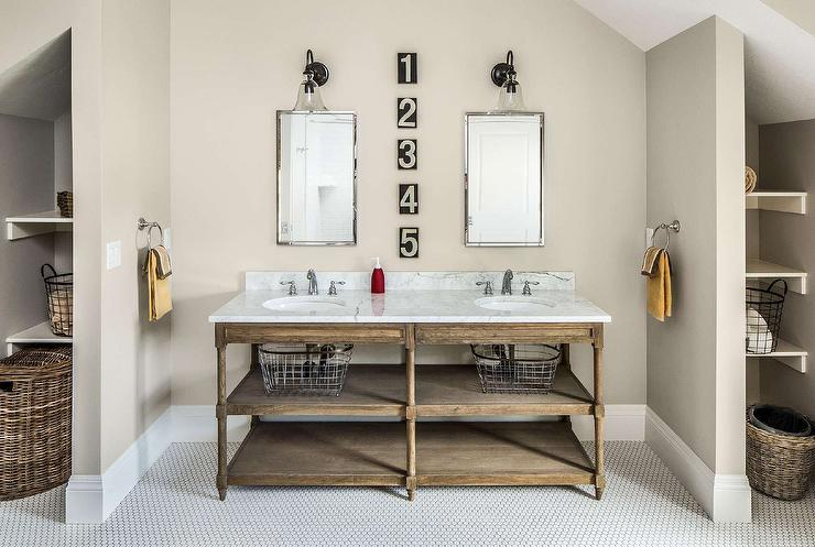 Exceptional Cottage Bathroom Features A Nook Filled With A Restoration Hardware  Weathered Oak Double Washstand Topped With Carrera Marble Placed Under  Polished Nickel ...