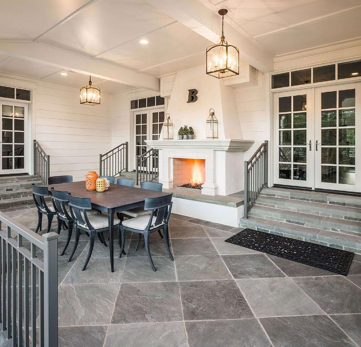 Covered Patio With Dark Stained Coffered Ceiling And