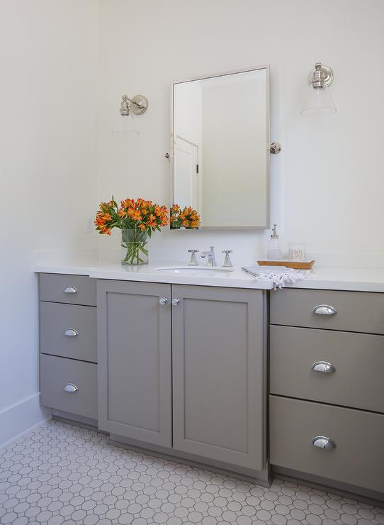 Gray Shaker Bath Vanity Cabinets With Rectangular Pivot Mirror
