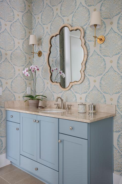 Blue Powder Room with Galbraith and Paul Lotus Wallpaper