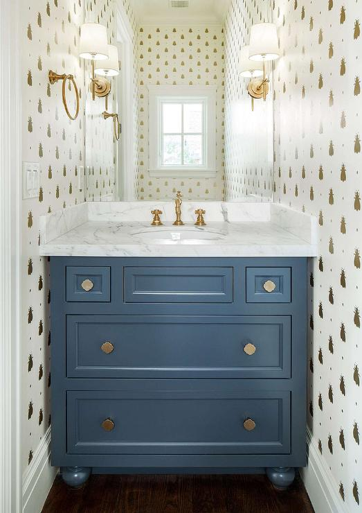 Blue And Gold Powder Room With Bumblebee Wallpaper