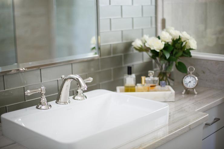 gray glass bathroom wall tiles transitional bathroom