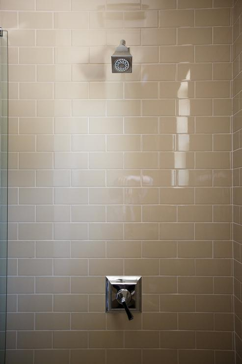 Gray Shower Surround with Modern Shower Kit - Transitional - Bathroom