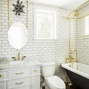 Black And White Bathroom With Gold Accents Transitional