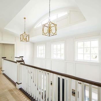 Staircase with Gold Leaf Lanterns & Arched Clerestory Windows Design Ideas azcodes.com