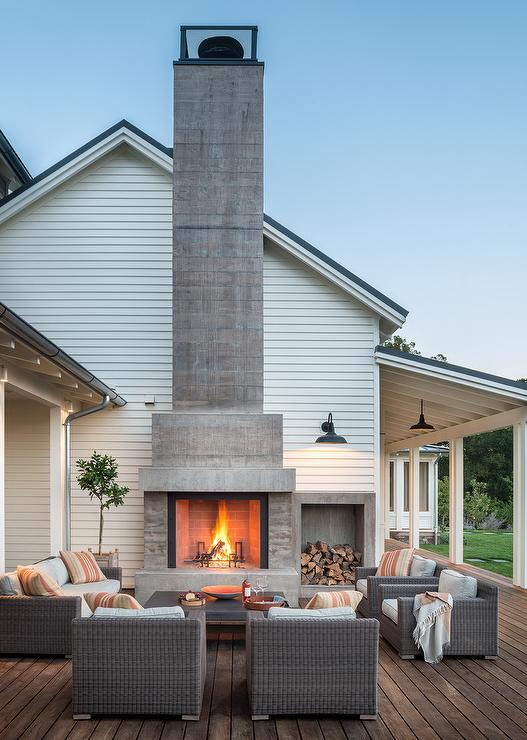 Concrete Outdoor Fireplace With Concrete Firewood Nook