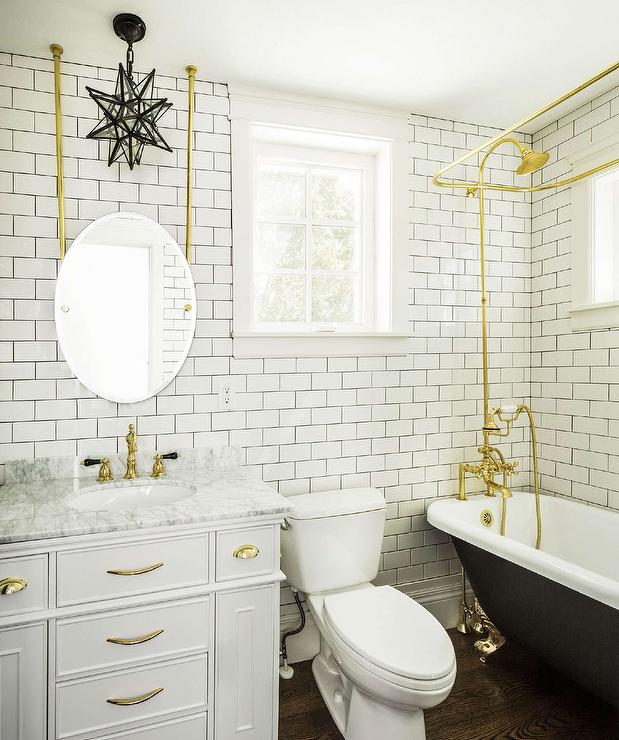 White And Gold Bathroom. White And Gold Bathroom With Black Clawfoot Tub