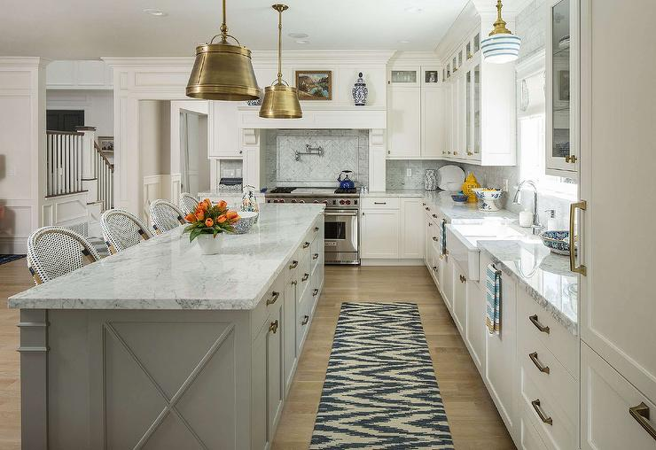 long tile kitchen long gray center island with sloane single shop lights with metal