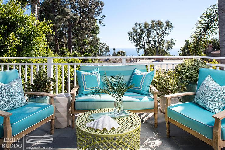 Teak Outdoor Furniture with Turquoise Cushions Cottage Deckpatio
