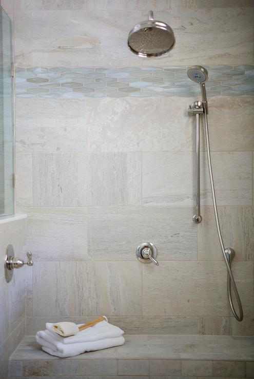 Nice Shower With Aqua Blue Glass Border Tiles Part 6